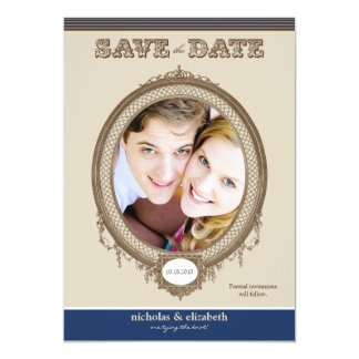 Vintage Oval Frame Save-the-Date (chocolate/navy) 13 Cm X 18 Cm Invitation Card