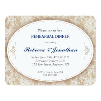 Vintage Oval on Burlap and Lace Rehearsal Dinner Card