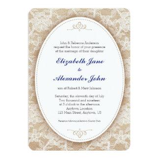 Vintage Oval on Burlap and Lace Wedding 13 Cm X 18 Cm Invitation Card