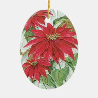 Vintage Oval Poinsettia Christmas Ornament