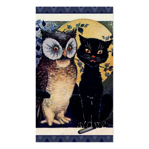 Vintage Owl and Cat Halloween Greeting Business Cards