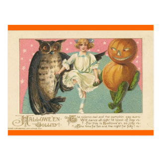 Vintage Owl and goblin Halloween Postcard