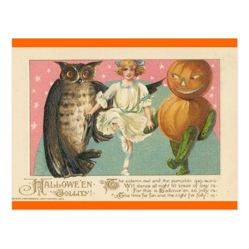 Vintage Owl and goblin Halloween Postcard