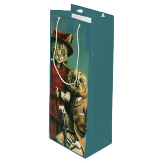 Vintage Owl And Pussy Cat Wine Gift Bag