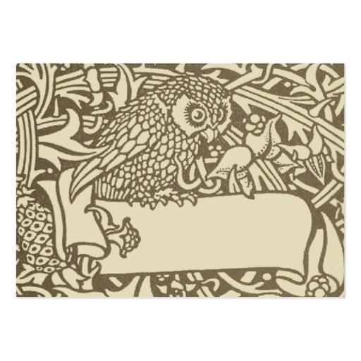 Vintage owl Art Nouveau bird Design Business Card Templates