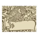 Vintage owl Art Nouveau bird Design Postcard