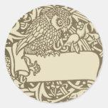 Vintage owl Art Nouveau bird Design Round Sticker