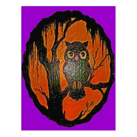 Vintage Owl cartoon Art Postcard
