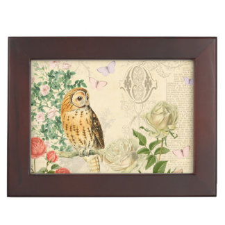 Vintage owl floral box with beautiful rose memory box