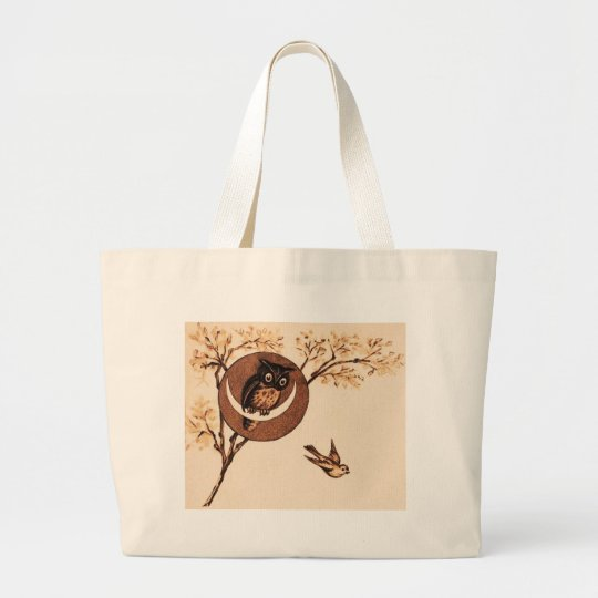 Vintage Owl in Moon Large Tote Bag