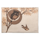 Vintage Owl in Moon Place Mat