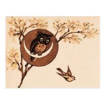 Vintage Owl in Moon Postcard