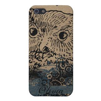 Vintage Owl Navy Retro Swirls Parchment iPhone iPhone 5/5S Cases
