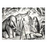 Vintage Owl Painting Elephant 1800s Jungle Scene