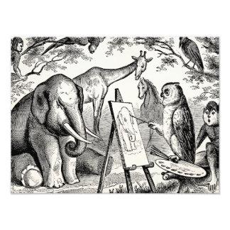 Vintage Owl Painting Elephant 1800s Jungle Scene Photo Print