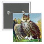 Vintage Owl Print 15 Cm Square Badge