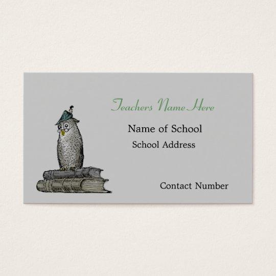 Vintage Owl Teachers Business Card