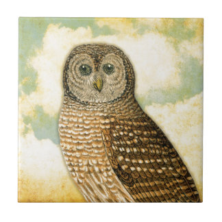 Vintage Owl with Clouds Tile