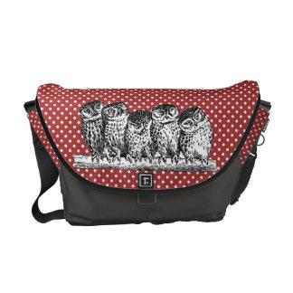 Vintage Owls and Red Polka Dots Commuter Bag