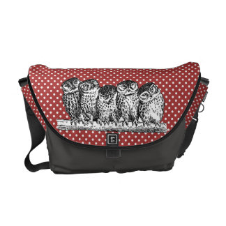 Vintage Owls and Red Polka Dots Commuter Bags