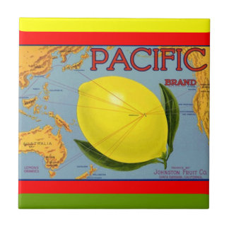 Vintage Pacific Fruit Map Lemon Crate Label Tile