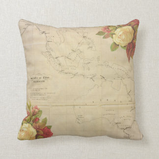 Vintage Pacific Map Throw Pillow