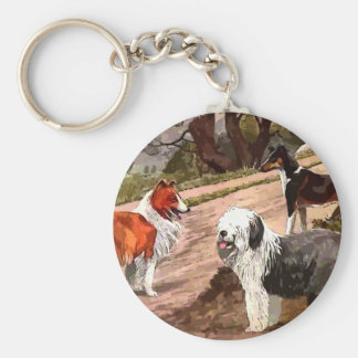 Vintage Painted Collies Key Chain