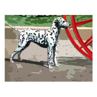 vintage painted dalmatian postcard
