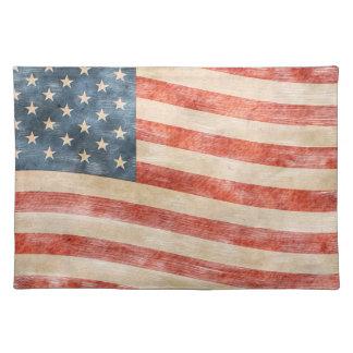 Vintage Painted Look American Flag Placemat