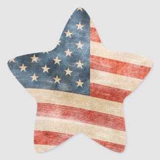 Vintage Painted Look American Flag Star Sticker