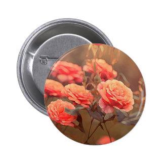 Vintage Painted Pink Roses 6 Cm Round Badge