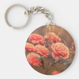 Vintage Painted Pink Roses Key Chain