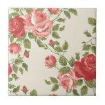 Vintage Painted Rose Vines Ceramic Tile