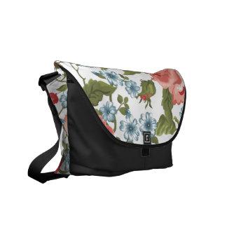 Vintage Painted Rose Vines Pattern Courier Bag