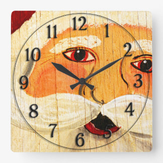 Vintage Painted Santa Clause Face Weathered Wall Clocks