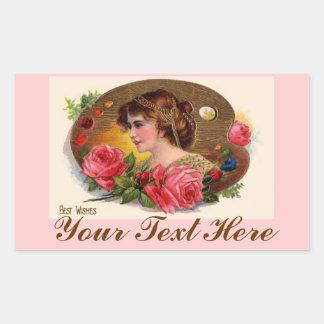 Vintage Painter's Palette And Roses Rectangular Sticker