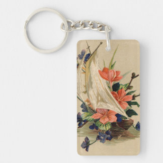 Vintage Painting - Flowers in a Sailboat. Double-Sided Rectangular Acrylic Key Ring