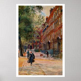 Vintage painting King s Bench Walk London art Print