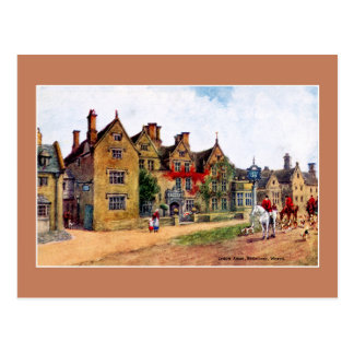 Vintage painting Lygon Arms Broadway art Postcard