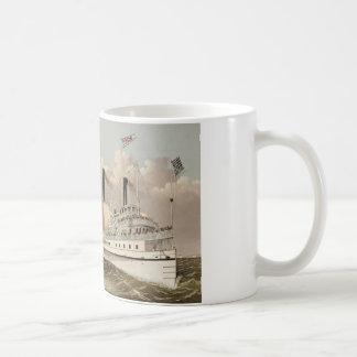 Vintage Painting Mississippi River Steam Boats Coffee Mug