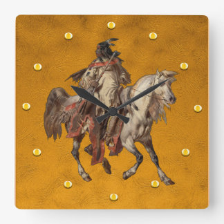 Vintage Painting, Native American Brave and Horse Square Wall Clock