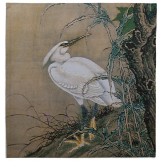 Vintage Painting Of A Bird With Flowers Napkin