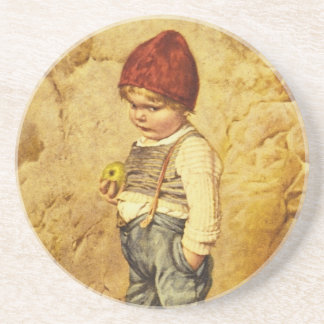 Vintage Painting of Hansel Holding an Apple Coaster