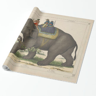 Vintage Painting of Men Riding an Elephant Wrapping Paper