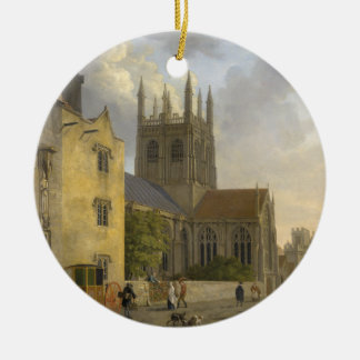 Vintage Painting of Merton College Oxford England Christmas Ornament