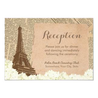 Vintage Pairs Eiffel Towel Wedding Reception 9 Cm X 13 Cm Invitation Card