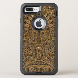 Vintage Paisley Fabric Texture In Brown & Beige OtterBox Defender iPhone 7 Plus Case