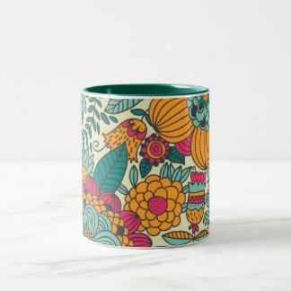 Vintage Paisley Flowers Two-Tone Coffee Mug