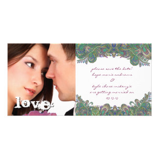 Vintage Paisley Peacock Colors Save The Date Photo Personalized Photo Card