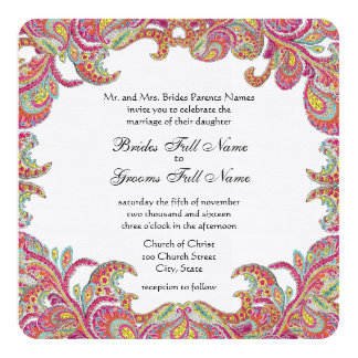 Vintage Paisley Pink, Raspberry and Lime Weddings Card